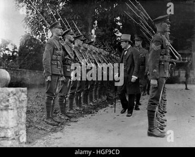 Winston Churchill inspecting forces, Cologne, August 1919 - Stock Photo