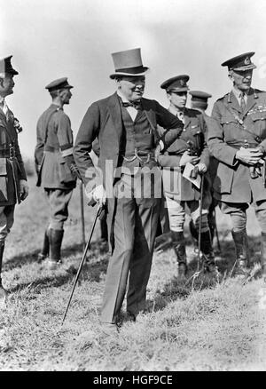 Winston Churchill inspects the British Army of Occupation  at Cologne with Field Marshall Sir Henry Wilson (extreme - Stock Photo