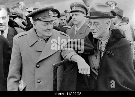 Winston Churchill and Franklin D Roosevelt arriving at the Yalta Conference - Stock Photo