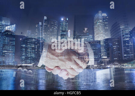 deal or agreement business concept, handshake double exposure, cooperation or partnership - Stock Photo