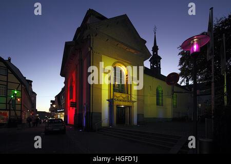 Light show Recklinghausen, illumunation, Ruhr area, North Rhine-Westphalia, - Stock Photo