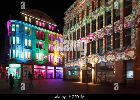 Light show Recklinghausen, illumunation, Ruhr area, North Rhine-Westphalia, - Stock Photo