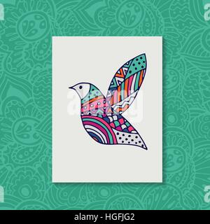 Zentangle stylized bird. Hand drawn vector illustration. - Stock Photo