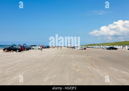 The famous beach at Blokhus in the north-western part of Jutland, Denmark. Cars and vehicles are allowed on this - Stock Photo