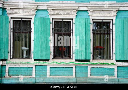 Brothel windows in Irkutsk. - Stock Photo