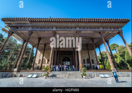 The Palace of Forty Columns (Chehel Sotoun) in Isfahan, capital of Isfahan Province in Iran - Stock Photo