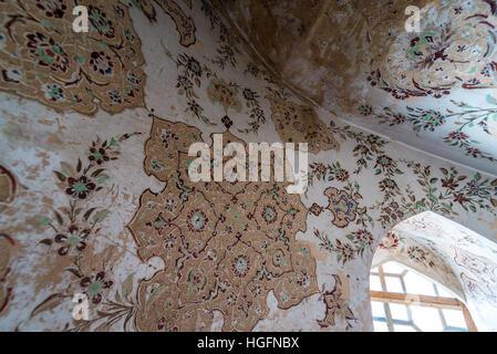 Wall details in Safavid grand palace Ali Qapu located at Naqsh e Jahan Square in Isfahan, capital of Isfahan Province - Stock Photo