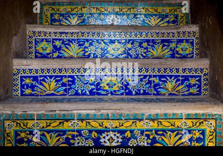 Tiled stairs in Safavid grand palace Ali Qapu located at Naqsh e Jahan Square in Isfahan, capital of Isfahan Province - Stock Photo