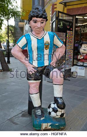 Diego Maradona statue in La Boca district, Buenos Aires, Argentina, South America - Stock Photo
