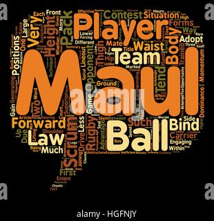 Why do rugby players scrum and maul at such different body heights text background wordcloud concept - Stock Photo