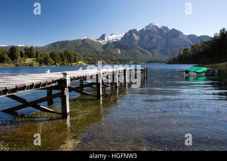 Pier and Andes mountains on Lago Perito Moreno, Llao Llao, Bariloche, Nahuel Huapi National Park, The Lake District, - Stock Photo