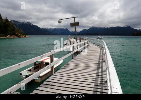 Pier on Lake Nahuel Huapi, Puerto Angostura, Villa La Angostura, Nahuel Huapi National Park, The Lake District, - Stock Photo