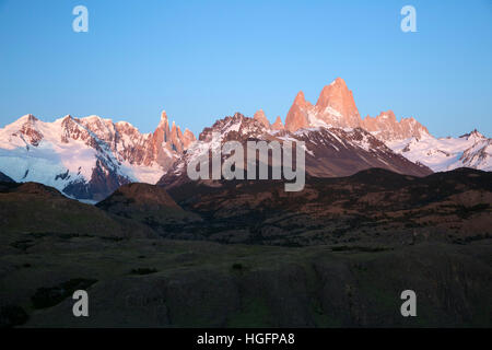 View of Mount Fitz Roy and Cerro Torre at sunrise from Mirador de los Condores, El Chalten, Patagonia, Argentina, - Stock Photo