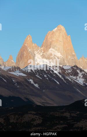 View over Mount Fitz Roy from Mirador de los Condores, El Chalten, Patagonia, Argentina, South America - Stock Photo