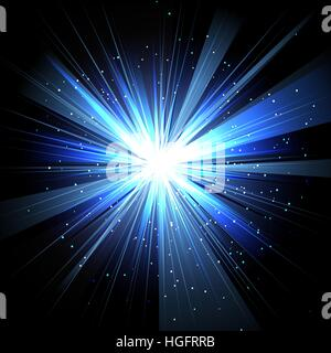 Star with rays white blue in space isolated and effect tunnel spiral galaxies, nebulae, cosmos on black background - Stock Photo