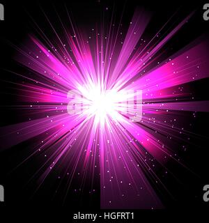Star with rays white purple in space isolated and effect tunnel spiral galaxies, nebulae, cosmos on black background - Stock Photo