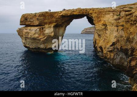 The Azure Window rock, Gozo Island, Malta - Stock Photo