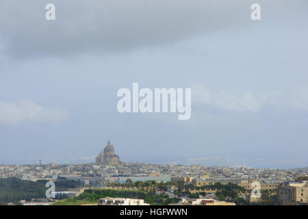 The skyline view of the city of Victoria, and the Xewkija Cathedral, Gozo Island, Malta - Stock Photo