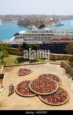 View from Valletta towards the Three Cities, in Valletta, Malta - Stock Photo