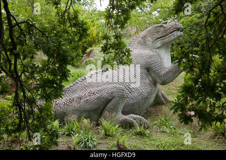 Dinosaurs sculptures in Crystal Palace Park, London, UK - Stock Photo