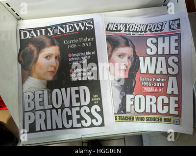 Front pages and headlines of the New York tabloid newspapers on Wednesday, December 28, 2016 report on the previous - Stock Photo