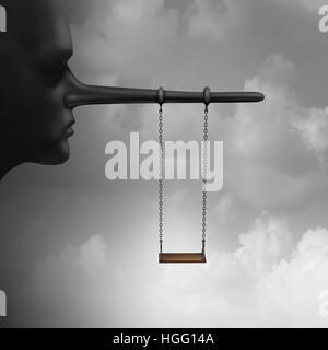 Lying to children and trust psychology of lies to kids concept as a playground child swing hanging from a long nose - Stock Photo