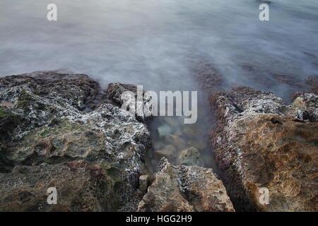 Sea coast in a long exposure shot - Stock Photo