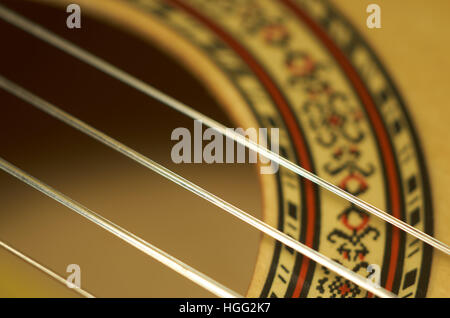 Close up of treble strings on a classical guitar - Stock Photo