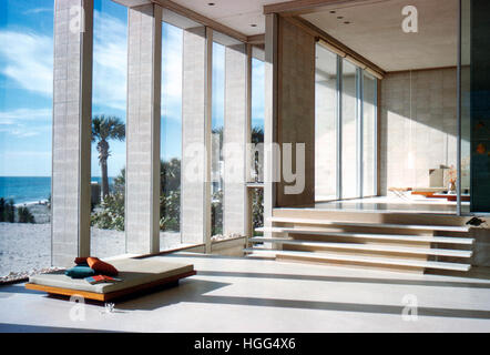 Interior detail of the house Paul Rudolph designed for the Deering family, built for Frederick Deering in 1956-58, - Stock Photo