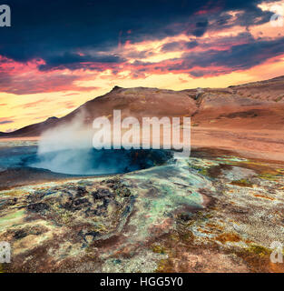 Sunny morning in Geothermal valley Hverarond, located near Reykjahlid village in north of Iceland, Europe. - Stock Photo