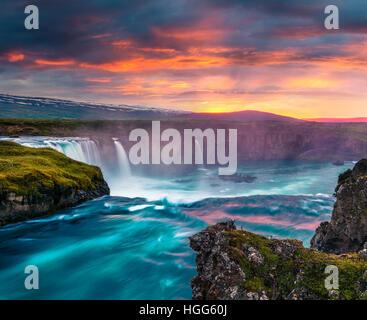 Summer morning scene on the Godafoss Waterfall. Colorful sunset on the on Skjalfandafljot river, Iceland, Europe. - Stock Photo