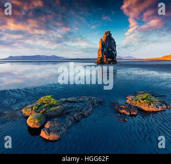 Huge basalt stack Hvitserkur on the eastern shore of the Vatnsnes peninsula. Colorful summer sunrise in northwest Iceland