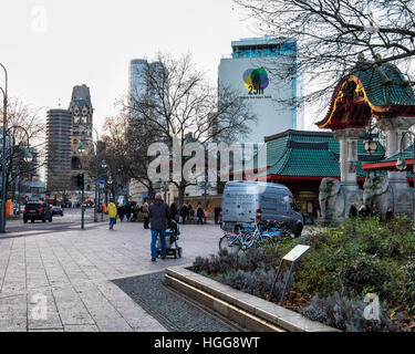 Berlin street scene, entrance to zoo,Twenty five hours hotel, skycaps and Kaiser Wilhelm Memorial Church, Charlottenburg, - Stock Photo