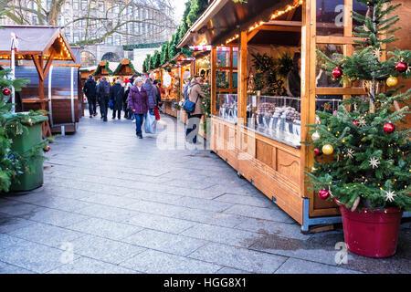 Stalls at German Christmas Market, Breitscheidplatz, Berlin, Site of 2016 Terror attack by truck driver - Stock Photo