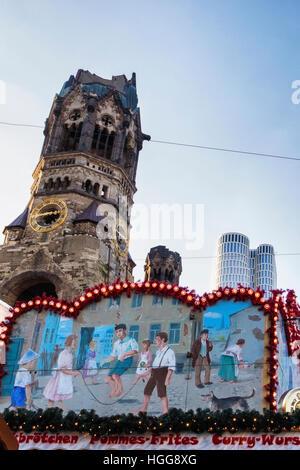 Breitscheidplatz, Berlin. Site  of 2016 terrorist attack by truck driver on German Christmas Market at Kaiser Wilhelm - Stock Photo