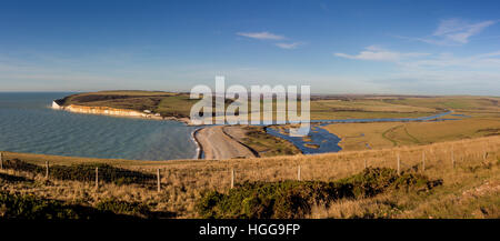 Panoramic view of the Cuckmere Valley from the South Downs Way on the Seven Sisters cliffs, East Sussex, UK. - Stock Photo