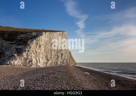 Seven Sisters cliffs from Cuckmere Haven beach, Sussex. - Stock Photo