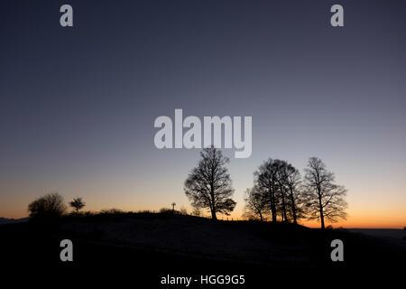Dawn, Bavarian Landscape Silhouette - Stock Photo