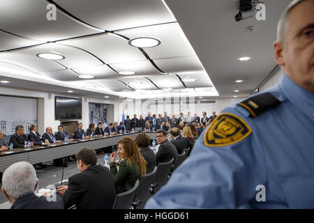 Geneva. 9th Jan, 2017. Photo taken on Jan. 9, 2017 shows a view of the reunification negotiations in Geneva, Switzerland. - Stock Photo