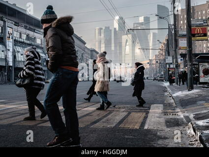Moscow, Russia. 9th Jan, 2017. A distant view of the Moscow City business centre. © Stoyan Vassev/TASS/Alamy Live - Stock Photo