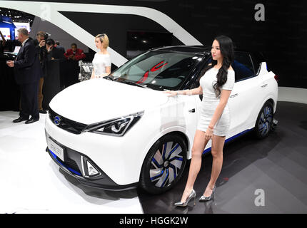 Detroit, USA. 9th Jan, 2017. China's Guangzhou Automobile Group Motor (GAC Motor) makes debut of Trumpchi electric - Stock Photo