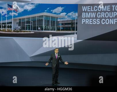 Detroit, USA. 9th Jan, 2017. LUDWIG WILLISCH, CEO and president of BMW speaks at the North American International - Stock Photo