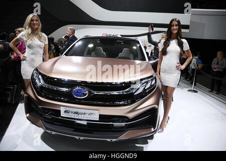 Detroit, USA. 9th Jan, 2017. China's Guangzhou Automobile Group Motor (GAC Motor) makes debut of EnSpirit concept - Stock Photo