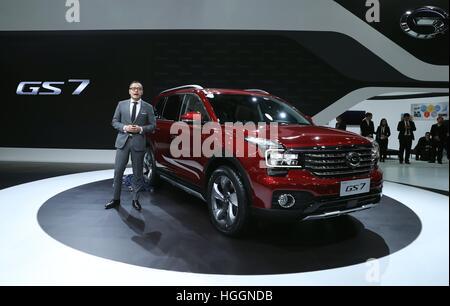 Detroit, USA. 9th Jan, 2017. China's Guangzhou Automobile Group Motor (GAC Motor) makes debut of Trumpchi SUV GS7 - Stock Photo