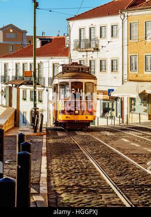 Portugal, Lisbon, Tram number 28 in Alfama. - Stock Photo