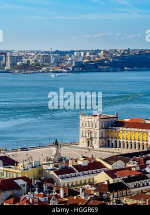 Portugal, Lisbon, Praca do Comercio and Tagus River viewed from the Sao Jorge Castle. - Stock Photo