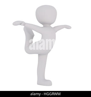 3d Rendering of Cartoon Figure Dancing in Elegant Pose with Bent Leg and Extended Arms in front of White Background - Stock Photo