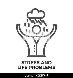 Stress and Life Problems Thin Line Vector Icon Isolated on the White Background. - Stock Photo