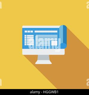 Monitor whit blueprint icon. Flat vector related icon with long shadow for web and mobile applications. It can be - Stock Photo