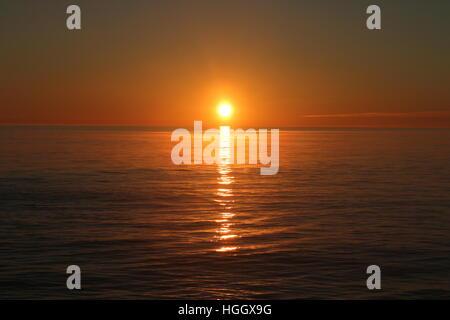 Sunset, Aberystwyth, Ceredigion, Wales, Uk Sea - Stock Photo